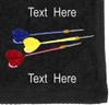 Ozone Billiards Three Darts Towel - Black - Free Personalization