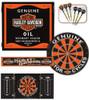 Harley Davidson Oil Can Dart Board Cabinet Set