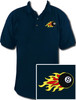 Ozone Billiards 8 Ball Flames Polo Shirt - Navy - Free Personalization