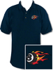 Ozone Billiards Fire 8 Ball Navy Polo Shirt - Free Personalization