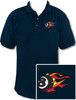 Ozone Billiards Fire 8 Ball Navy Polo Shirt - Free Personalization