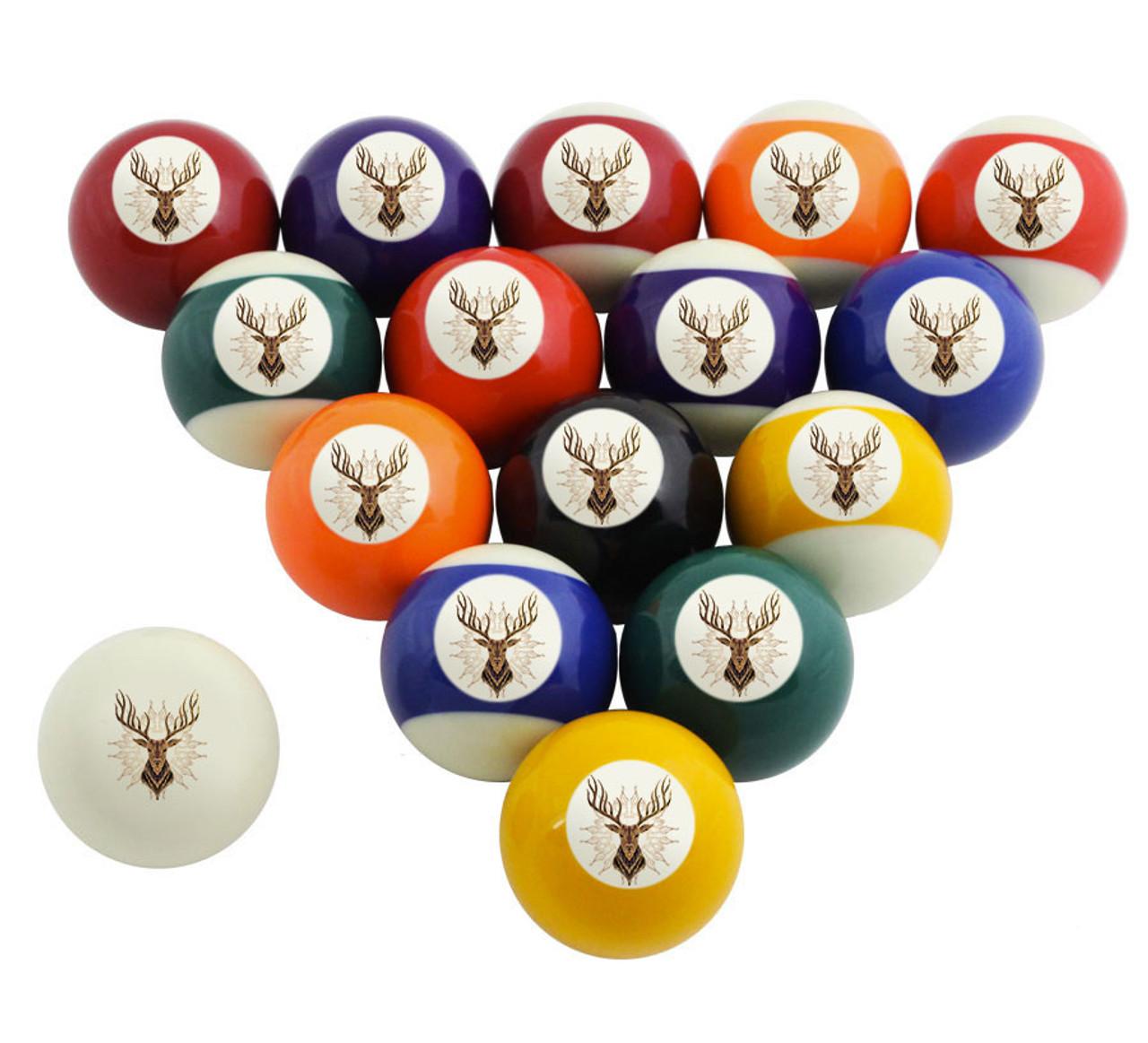 Custom Pool Balls Set Ornate Deer