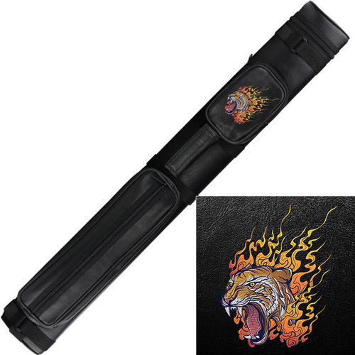 Ozone Cue Case 2 Butt/2 Shaft Black - Flaming Tiger