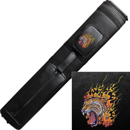 Ozone Cue Case 3 Butt/5 Shaft Black - Flaming Tiger