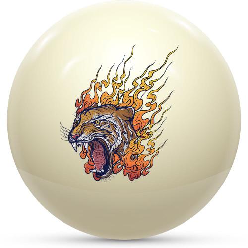 Custom Cue Ball - Flaming Tiger