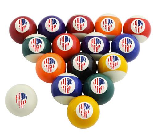 Custom Pool Balls Set - Punisher USA