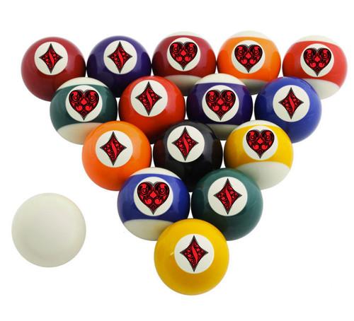 Custom Pool Balls Set - Heart Diamond
