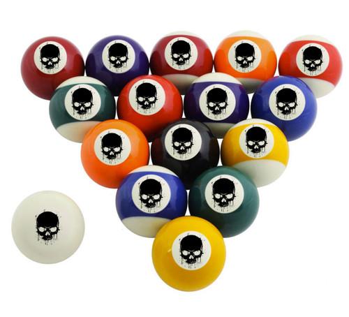 Custom Pool Balls Set - Painted Skull
