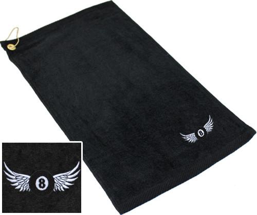 Ozone Billiards 8 Ball Wings Towel - Black - Free Personalization