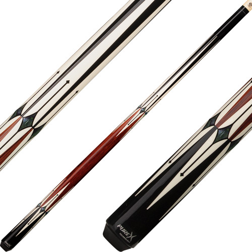 Pure X Cues - Black with 6 Bone and Cocobolo Points HXTE1