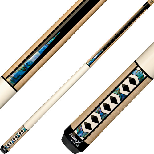 Pure X Cues - Natural Birdseye and Black with Bone and Abalone Graphics HXTE9
