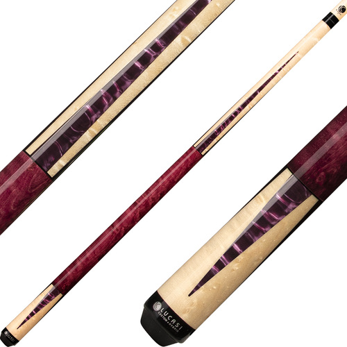 Lucasi Cues - Natural Birdseye Maple with Purple Crush Inlays LZC17