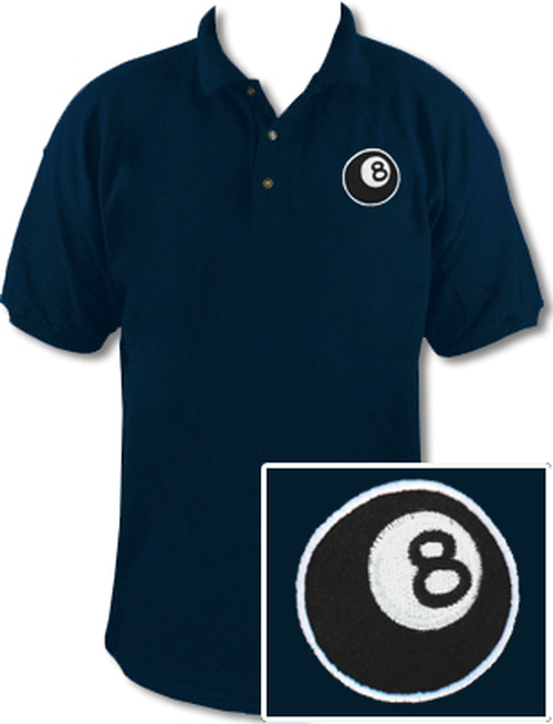 Ozone Billiards 8 Ball Polo Shirt - Navy - Free Personalization