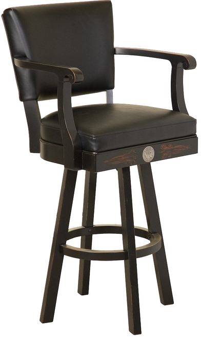 Jack Daniel's Wood Bar Stool w/ Backrest - TN Charcoal Finis