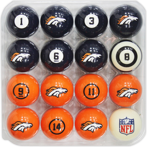Denver Broncos Pool Balls with Numbers
