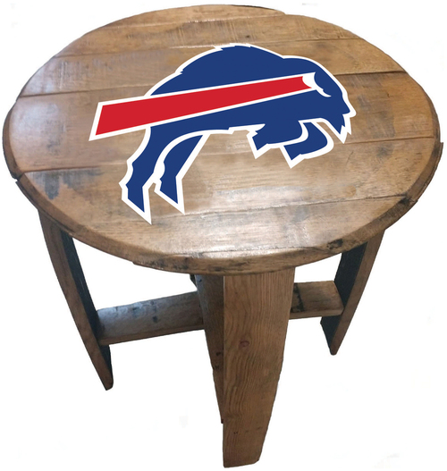 Buffalo Bills Oak Barrel Table