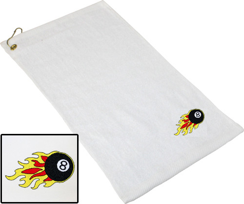 Ozone Billiards 8 Ball Flames Towel - White - Free Personalization