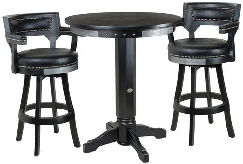 Harley Davidson Pub Table with Backrest Stools Set - Bar and Shield Flames Vintage Black