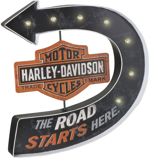 Harley Davidson Sign - Road Starts Here Marquee Pub Sign