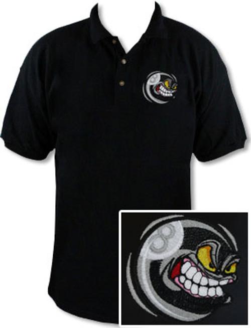 Ozone Billiards Angry 8 Ball Black Polo Shirt