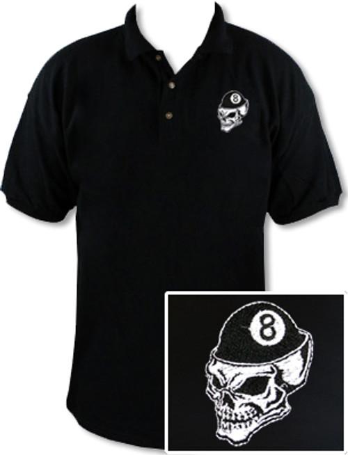 Ozone Billiards 8 Ball Skull Polo Shirt - Black - Free Personalization