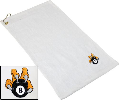 Ozone Billiards 8 Ball Talon Towel - White - Free Personalization