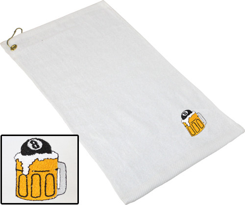 Ozone Billiards Beer Mug Towel - White - Free Personalization