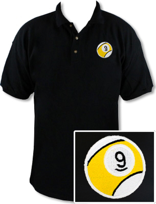 Ozone Billiards 9 Ball Polo Shirt - Black - Free Personalization