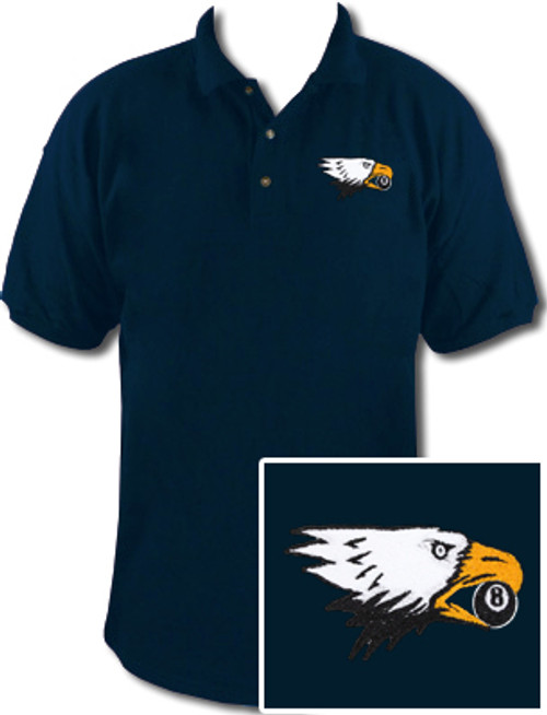 Ozone Billiards Screaming Eagle Navy Polo Shirt - Free Personalization