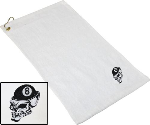 Ozone Billiards 8 Ball Skull Towel - White - Free Personalization