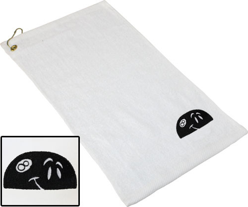Ozone Billiards Peeking 8 Ball Towel - White - Free Personalization