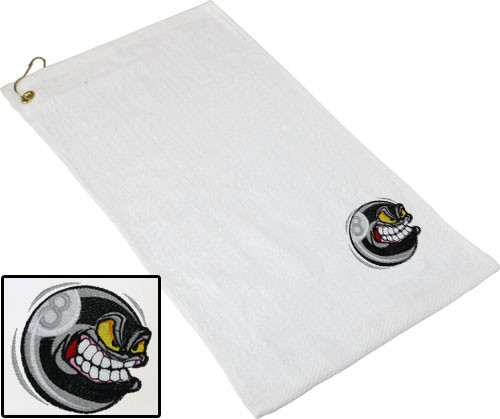 Ozone Billiards Angry 8 Ball Towel - White - Free Personalization