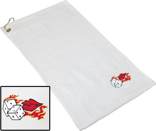 Ozone Billiards Flaming Dice Towel - White - Free Personalization
