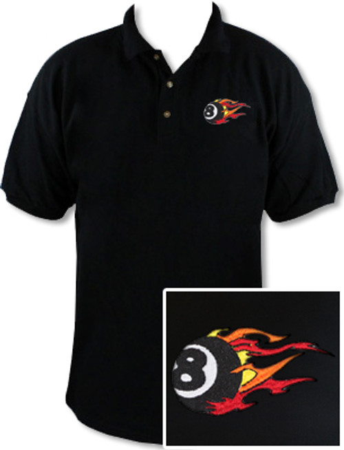 Ozone Billiards Fire 8 Ball Black Polo Shirt - Free Personalization