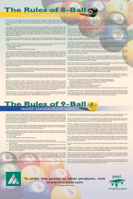 BCA 8/9 Ball Rules Poster