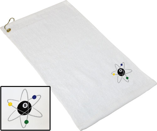 Ozone Billiards Atomic 8 Ball Towel - White - Free Personalization