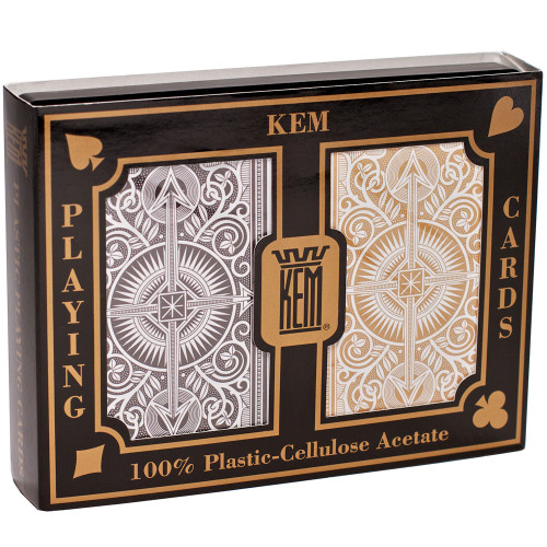 Kem Cards Arrow Black and Gold Narrow Standard 2 Pack Playing Cards