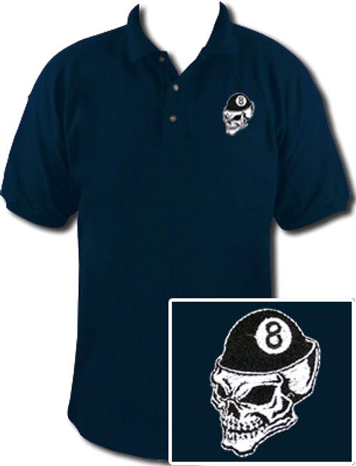 Ozone Billiards 8 Ball Skull Polo Shirt - Navy - Free Personalization