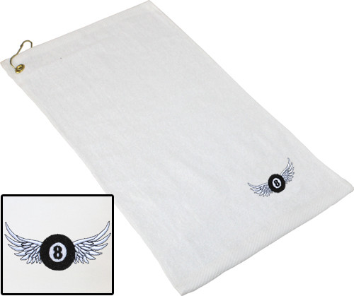 Ozone Billiards 8 Ball Wings Towel - White - Free Personalization
