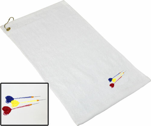 Ozone Billiards Three Darts Towel - White - Free Personalization