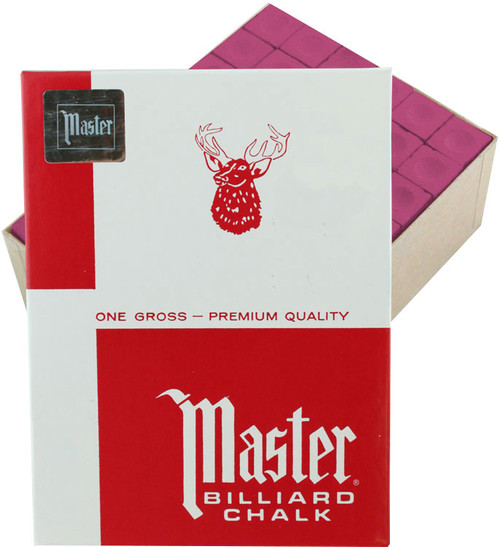 Master Pool Cue Chalk - Gross 144 Pieces - Burgundy