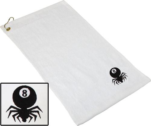 Ozone Billiards 8 Ball Spider Towel - White - Free Personalization