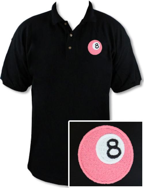Ozone Billiards Pink 8 Ball Black Polo Shirt - Free Personalization