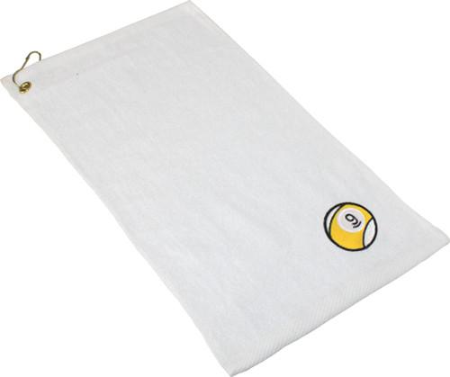 Ozone Billiards 9 Ball Towel - White - Free Personalization