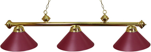 Ozone Brass Pool Table Light with burgundy shades