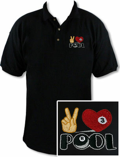 Ozone Billiards Peace Love Pool Black Polo Shirt - Free Personalization