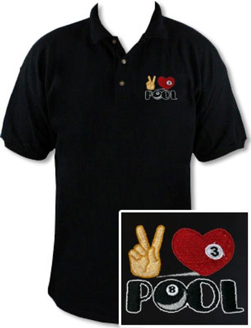 Ozone Billiards Peace Love Pool Black Polo Shirt - Free Personalization
