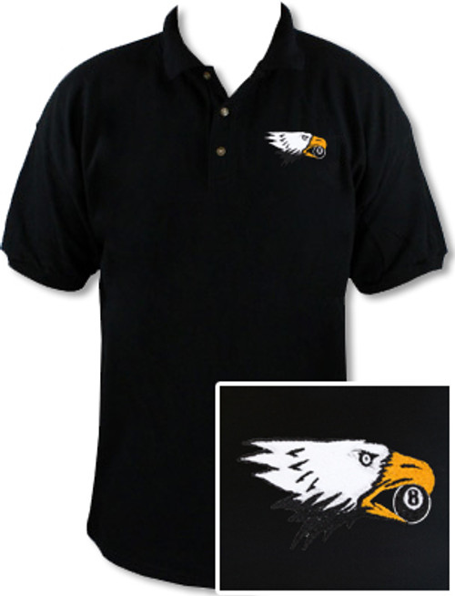 Ozone Billiards Screaming Eagle Black Polo Shirt - Free Personalization