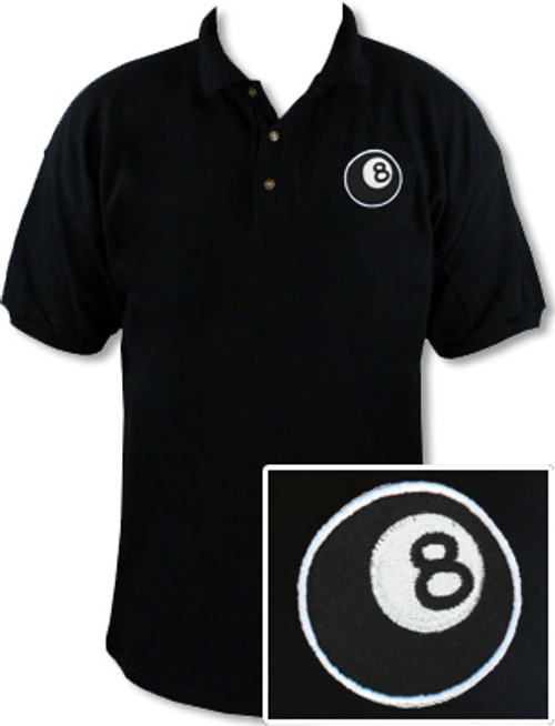 Ozone Billiards 8 Ball Polo Shirt - Black - Free Personalization
