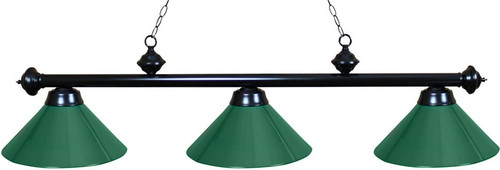 Ozone Black Pool Table Light with Green Shades